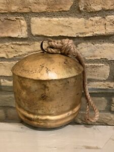 Pottery Barn Vintage Gold Bell Objects Christmas Decor Small Size New