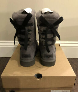 New UGG Women's Size 11 Short Continuity Bow Boot CHRC Gray Black
