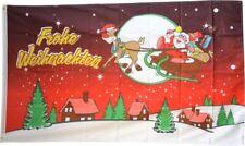 Fahne Frohe Weihnachten rot Flagge Weihnachtsmann Hissflagge 90x150cm