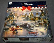 Disney THOMAS KINKADE Mickey and Minnie Sweetheart Holiday Jigsaw Puzzle 1000