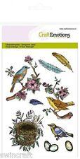 Craft Emotions SELLOS DE POLÍMERO Transparente A6 Pájaros plumas huevos 1239