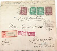.1925 BERLIN, GERMANY REGISTERED MAIL COVER. GERMANY TO CHICAGO, USA.