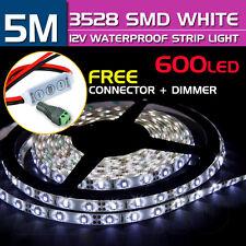 Cool White 600 LED DC 12V 5M 3528 SMD Leds Waterproof Strip Light Car Dimmer New