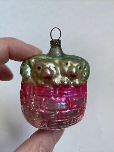 Antique German Mercury Glass Dogs Sleeping In Bed Christmas Ornament