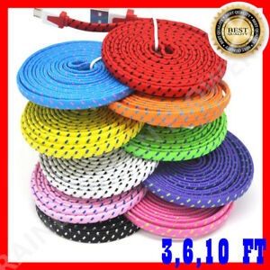 3/6/10 FT braided flat Micro USB Charging cable for Android Devices Samsung, LG