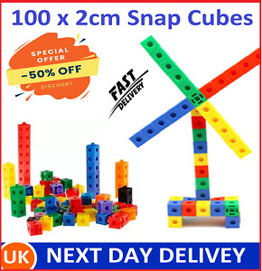 100 x 2cm Math Link Cubes Interlocking Snap Counting Blocks Toy Gift Early Learn