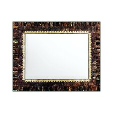 """Handcrafted Glass Mosaic 24"""" Decorative Rectangular Wall Mirror, Brown, Gold"""