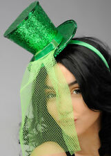 Burlesque Green Glitter Mini Top Hat with Veil