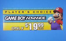 Nintendo Gameboy Advance GBA Store Display Promo Shelf-talker Sign Mario Bros!