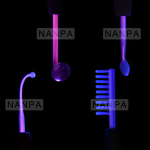 4 Pieces High Frequency Electrode For Acne Skin Care Purple Argon Gas Glass Tube