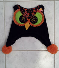 Child's Black Orange and Green Soft Knit Owl Winter Hat (New Without Tags)