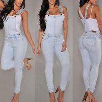 Ladies Casual Womens Slim Denim Strap Trousers Romper Jumper Jumpsuit Jeans Long