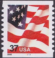 US - 2002 - 37 Cents United States Flag Coil #3632 Plate # Single Plate # 7777