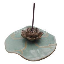 Ceramic Flower Lotus Decoration Hole Stick Incense Plate Dish Burner Holder