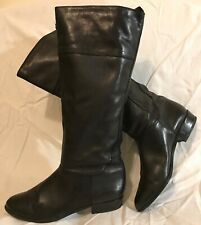 Ladies Black Knee High Leather Lovely Boots Size 40 (745vv)