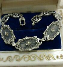 Antique Art Deco 14K White Gold Filigree Bracelet Camphor Glass Diamonds Estate