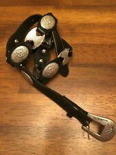 Genuine Leather Belt and Silver Tone Buckle with Silver Tone Pieces Size L
