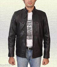 Men Fashion Handmade  Sheep Leather Jacket Small-5XL Black & Brown Color