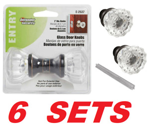 Clear Glass Fluted Door Knobs Classic Bronze Vintage Mortise Lock Set (6 SETS)