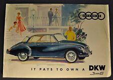 1958-1959 DKW Auto Union 3-6 Sales Brochure Folder Nice Original