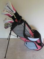 NEW Ladies Golf Club Set Driver Wood Hybrid Irons Putter & Stand Pink Bag Womens