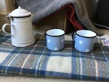 2 Cath Kidston Vintage style blue spot mug Enamel  Picnic Camping VW Camper-van