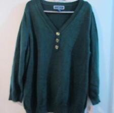Karen Scott New Women Rich Green Cotton Henley Sweater Top Plus 2X or  3x Comfy!