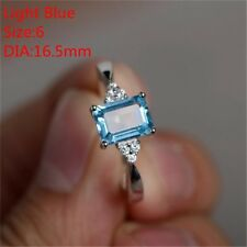 Silver Ring Princess Cut Mystic Rainbow Topaz Engagement Diamond Siz6-10 Jewelry