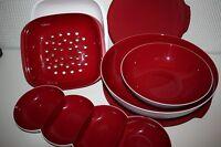 Tupperware Allegra rot weiss 4 tlg.Set: Schalle m. Sieb, Perle, Schussel NEU&OVP