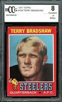 1971 Topps #156 Terry Bradshaw Rookie Card BGS BCCG 8 Excellent+
