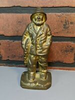 Antique/Vtg Solid Brass Sailor Fisherman Statue doorstop bookend salty
