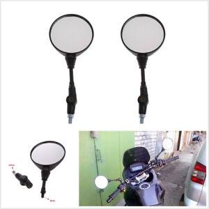2 Pcs Foldable Spherical Motorcycles ATV Handlebar Rearview Mirrors 10mm Thread