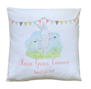 "Personalised meadow rabbit - 16"" white cushion cover baby girl nursery gift"