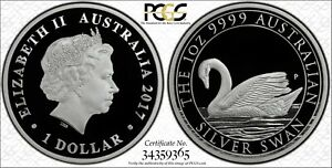 2017 Australian Silver Swan Proof  PCGS PR70DCAM FS with Secure + (Gold Shield)