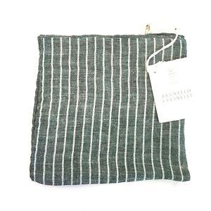 BRUNELLO CUCINELLI Linen Green Stripe Handkerchief Pocket Square (MSRP $195)