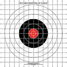 """ST-3 100 Yard Rifle Sighting-In Target on White Paper with 1"""" Grid (28 Targets)"""