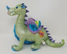 """Groovy Girls Green Sparkly Dragon by Manhattan Toy * Rare * 13"""" tall x10"""" long"""
