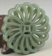 Chinese old natural hetian green jade hand-carved flower pendant 2.1 inch001