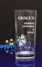 Personalised Engraved BOMBAY SAPPHIRE & TONIC Hiball glaSs Present by jevge 23