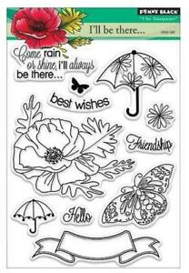 New Penny Black RUBBER STAMP clear Acrylic COME RAIN OR SHINE  free us ship