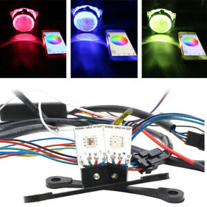 1Pair RGB LED Demon Eye Car Headlight Retrofit Kit Background Lamp APP Control