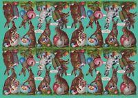 uralter sehr großer Bogen 32 Osterhasen Oblaten - DIE CUT SCRAPS