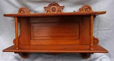 Victorian Carved Wood Pitch Pine Wall Hanging Shelf 2 Tier 1880