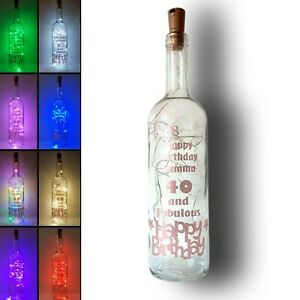 Personalised Birthday Gift Light Up Wine Bottle 18th 21st 30th 40th 50th 60th