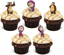 20 x MASHA AND THE BEAR Premium wafer Edible cake party toppers STAND UPS