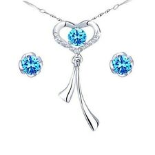 Created  Blue Topaz Sterling Silver Necklace Earring Jewelry Xmas Gifts for Her