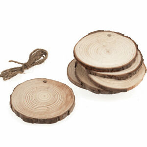 6 Pack Round Hanging Wood Slices for Floristry Crafts Christmas Tree Decoration