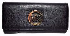 MICHAEL Michael Kors Fulton Long Flap Continental Pebble Leather Wallet Black