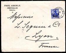 PALESTINE GERMANY 1909 JERUSALEM GERMAN POST OFFICE COVER LYON FRANCE