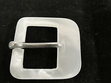 Antique Vintage Mother of Pearl Western Style Belt Buckle Metal Tongue